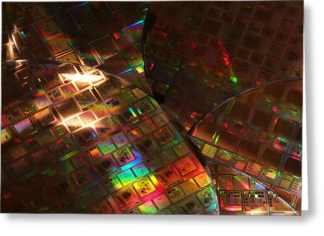 Silicon Wafers With Integrated Circuits Greeting Card by Science Source