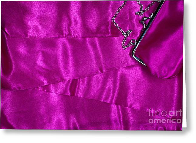 Greeting Card featuring the photograph Silk Background With Purse by Gunter Nezhoda
