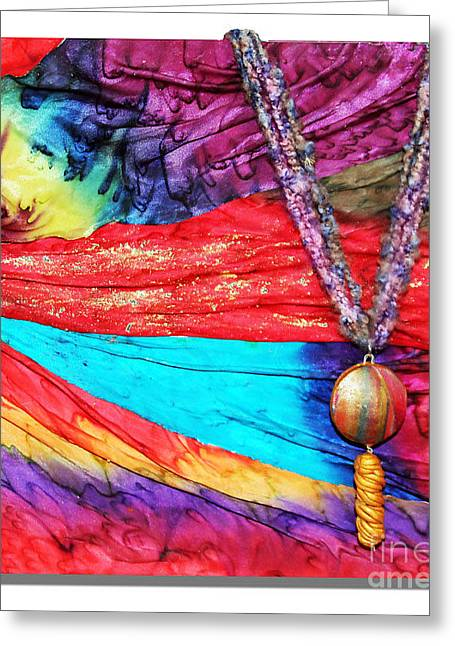 Silk Canvas With Necklace Greeting Card by Alene Sirott-Cope