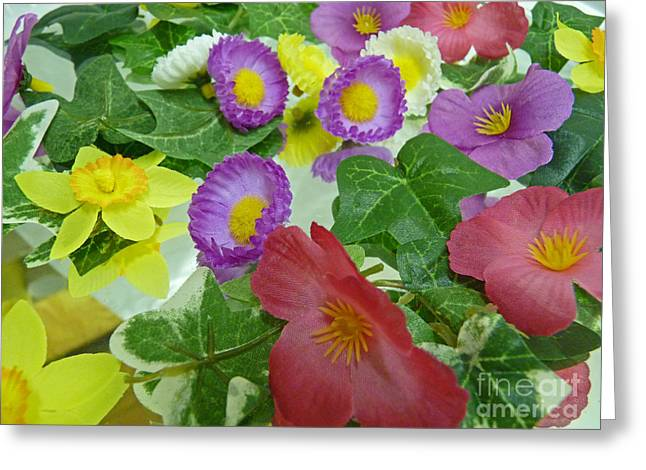 Silk Flowers For Springtime Greeting Card