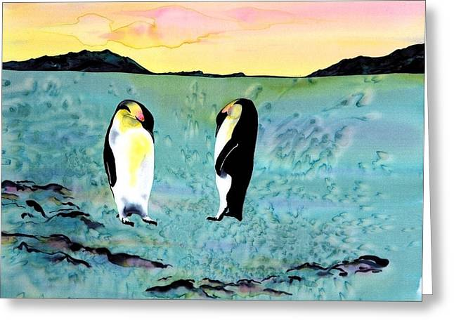 Silk Penguins Greeting Card by Carolyn Doe