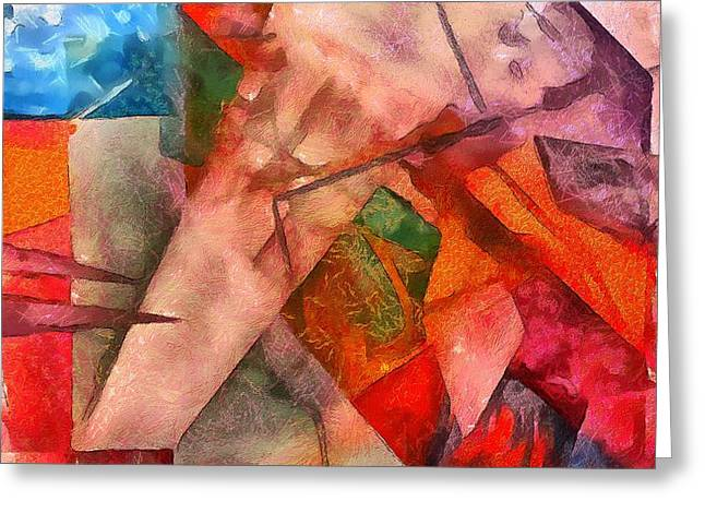 Greeting Card featuring the digital art Silky Abstract by Catherine Lott