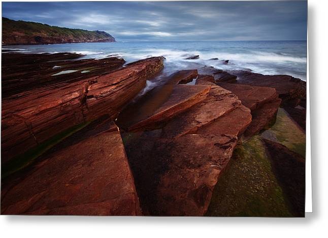 Silky Wave And Ancient Rock 1 Greeting Card