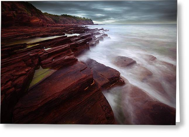 Silky Wave And Ancient Rock 3 Greeting Card