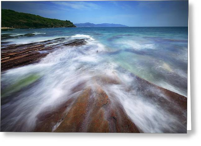 Greeting Card featuring the photograph Silky Wave And Ancient Rock 5 by Afrison Ma