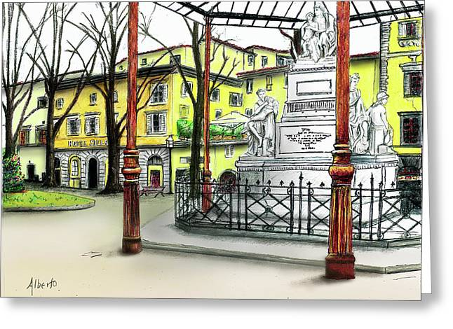 Greeting Card featuring the painting Silla Hotel Piazza Demidoff Florence by Albert Puskaric