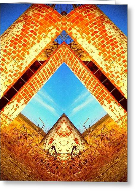 Greeting Card featuring the photograph Silo Pyramid by Karen Newell
