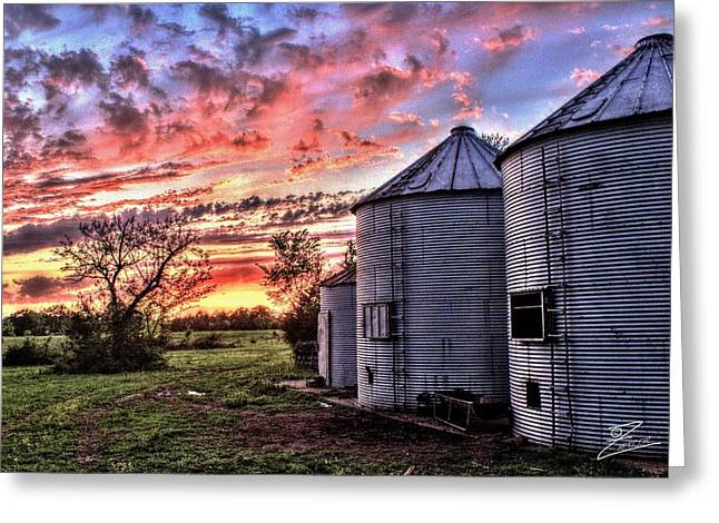 Silo Sunset Greeting Card