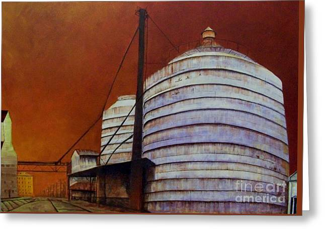 Silos With Sienna Sky Greeting Card