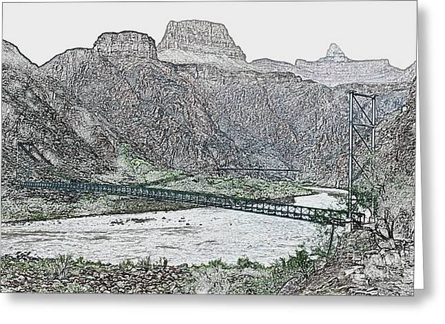 Silver And Black Bridges Over Colorado River Bottom Grand Canyon National Park Colored Pencil Greeting Card