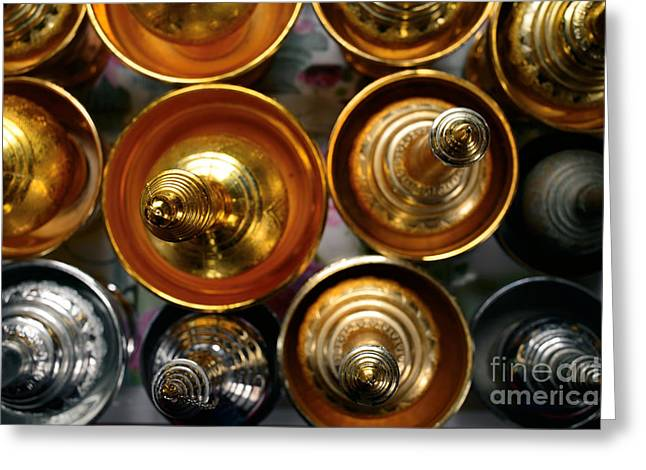 Silver And Gold Oil Lamps Greeting Card by Dean Harte