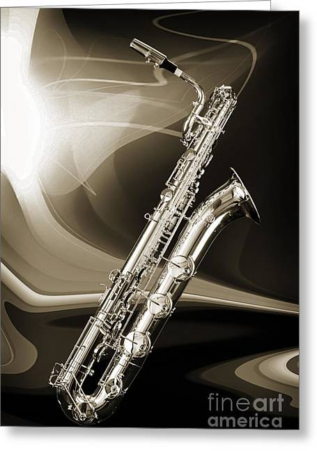 Silver Baritone Saxophone Photograph In Sepia 3459.01 Greeting Card