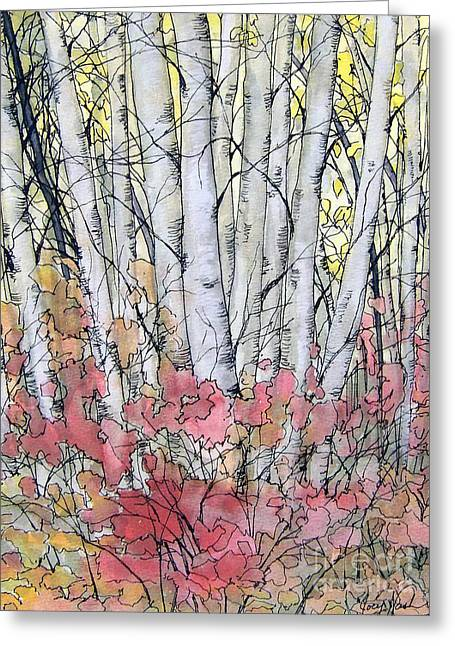 Silver Birch Greeting Card by Joey Nash
