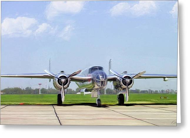 Silver Bird B-25 Greeting Card by Peter Chilelli