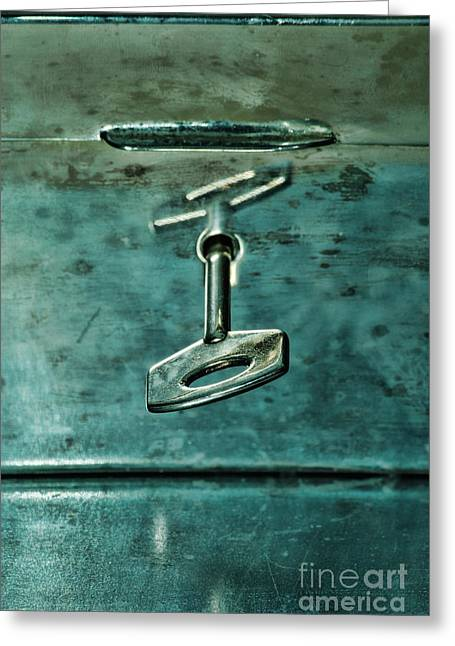 Silver Box With Key In The Lock Greeting Card