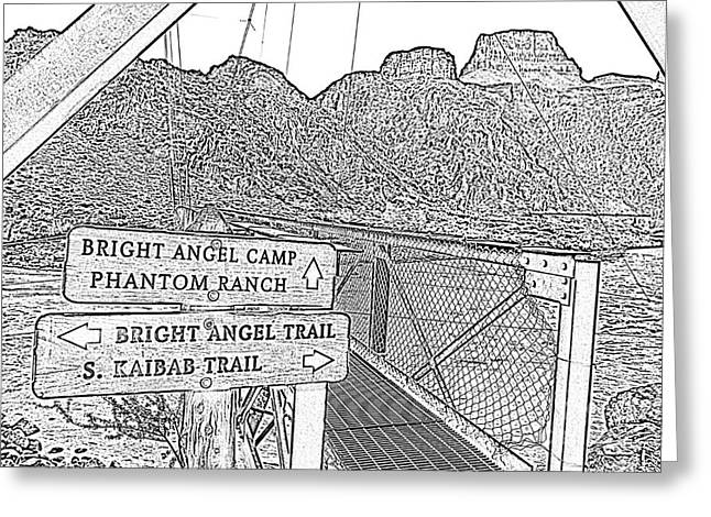 Silver Bridge Signs Over Colorado River At Bottom Of Grand Canyon National Park Bw Line Art Greeting Card by Shawn O'Brien