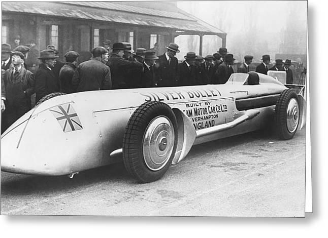 Silver Bullet Race Car Greeting Card