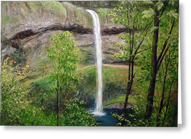 Greeting Card featuring the painting Silver Creek Falls by Kenny Henson
