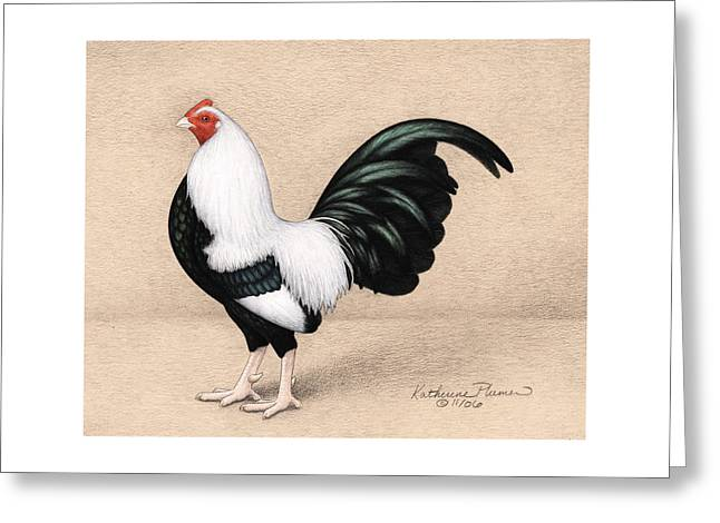 Silver Duckwing Old English Game Bantam Greeting Card by Katherine Plumer