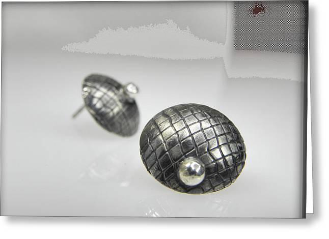 Silver Earrings Greeting Card by Vesna Kolobaric