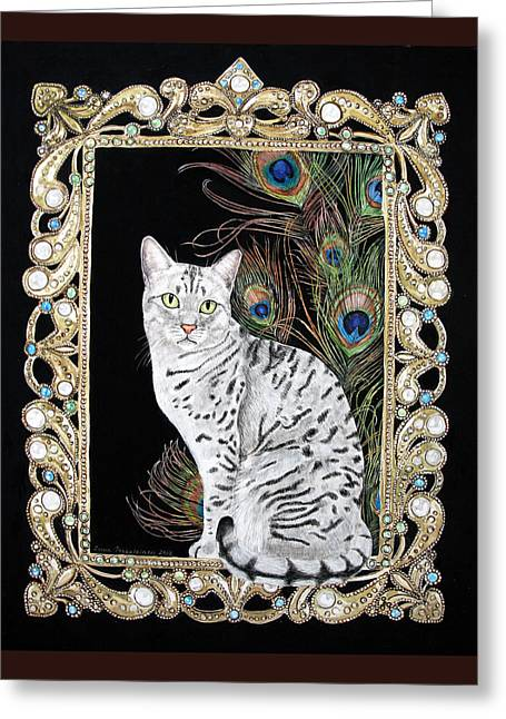 Greeting Card featuring the painting Silver Egyptian Mau by Leena Pekkalainen
