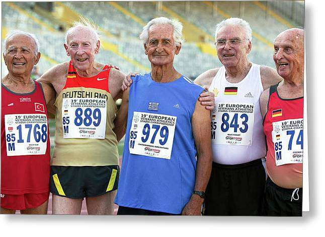 Silver-haired Athletes In Their Late 80s Greeting Card