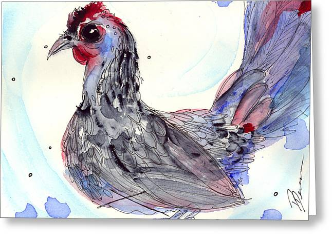 Silver Hen Greeting Card