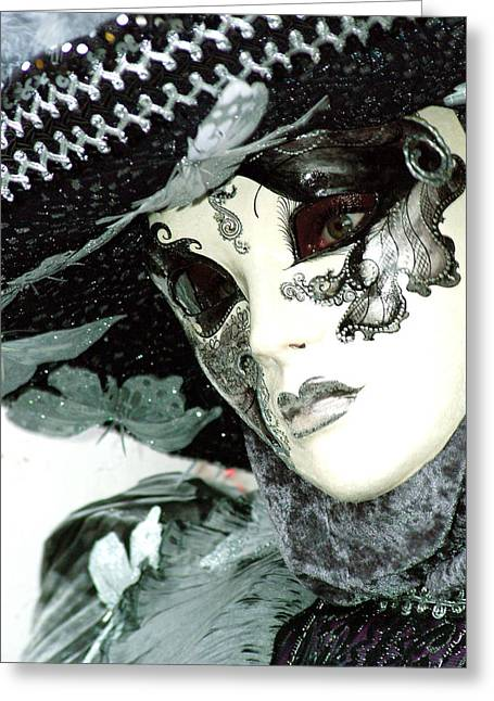 Silver Lacy Eyes Greeting Card