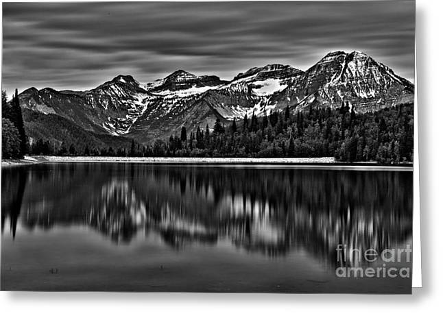 Silver Lake Reflection Black And White Greeting Card