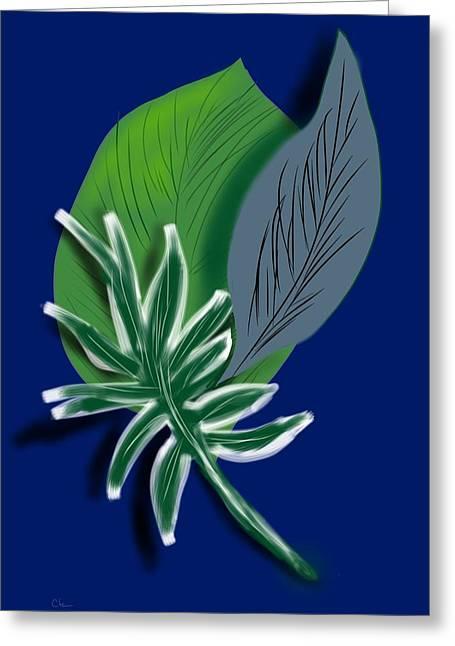 Greeting Card featuring the digital art Silver Leaf And Fern I by Christine Fournier