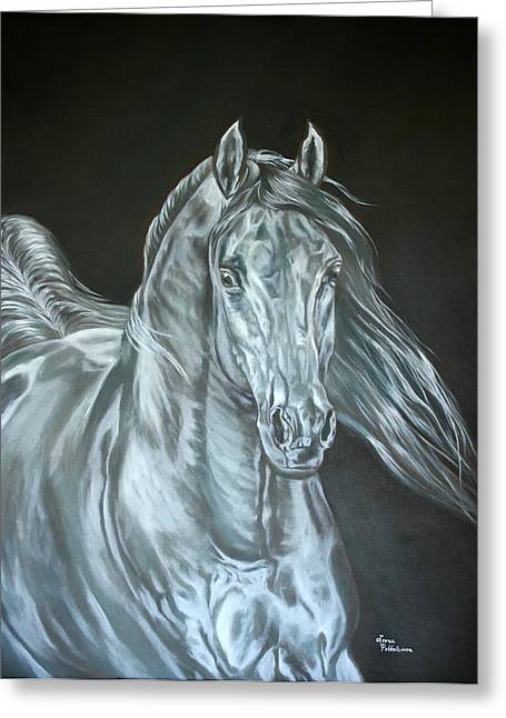 Greeting Card featuring the painting Silver by Leena Pekkalainen