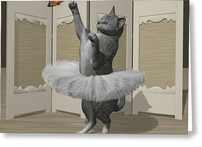 Silver Mau Ballet Cat On Paw-te Greeting Card by Andre Price