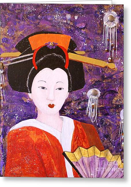Greeting Card featuring the painting Silver Moon Geisha by Jane Chesnut