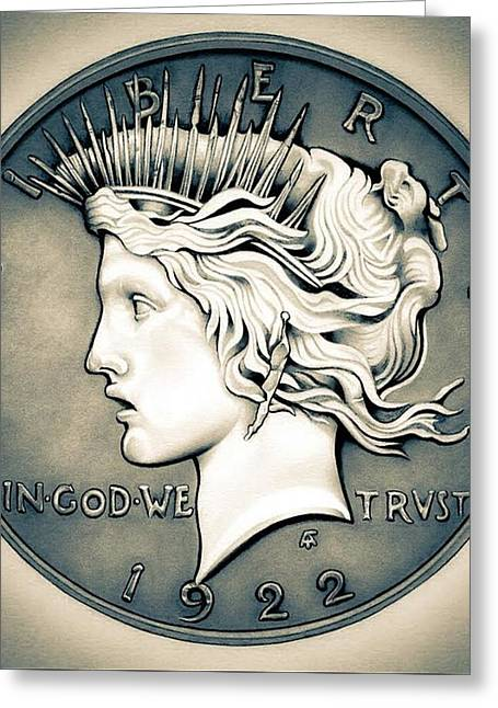 1922 Silver Proof Peace Dollar Greeting Card