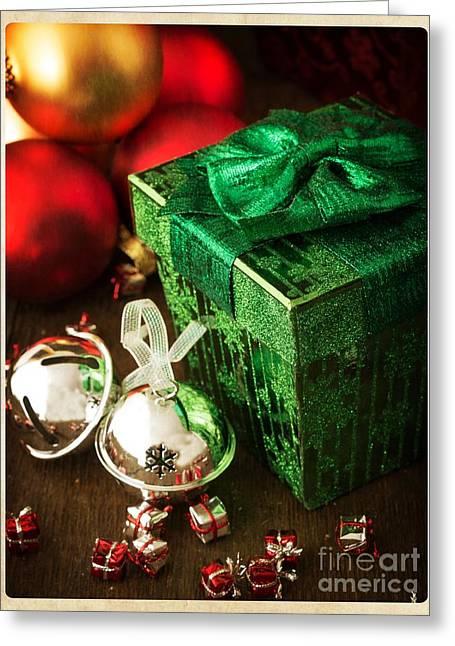 Silver Sleigh Bells Greeting Card