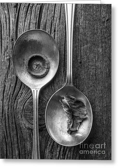 Silver Spoons Black And White Greeting Card by Edward Fielding