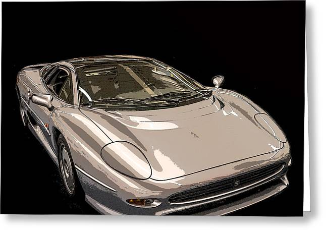 Silver Sports Car Greeting Card