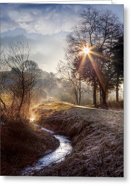 Silver Stream Greeting Card by Debra and Dave Vanderlaan