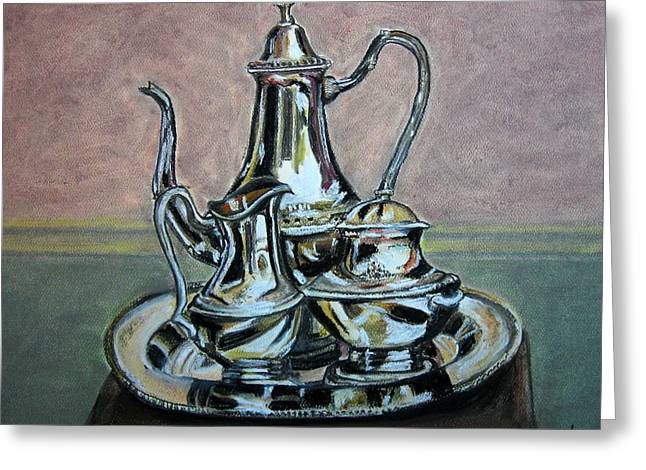 Silver Tea Set Greeting Card