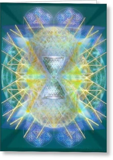 Silver Torquoise Bright Chali-cell-ring Flower Of Life Matrix Greeting Card