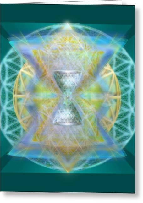 Silver Torquoise Chalice Matrix II Subtly Lavender Lit On Gold N Blue N Green With Teal Greeting Card