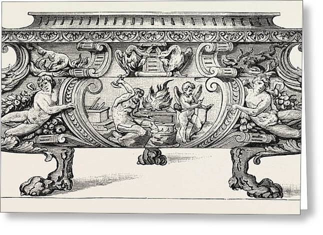 Silver Wine-cooler. Sixteenth Century Greeting Card by English School