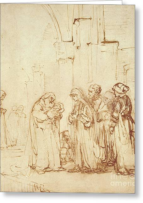 Simeon And Jesus In The Temple Greeting Card by Rembrandt Harmenszoon van Rijn