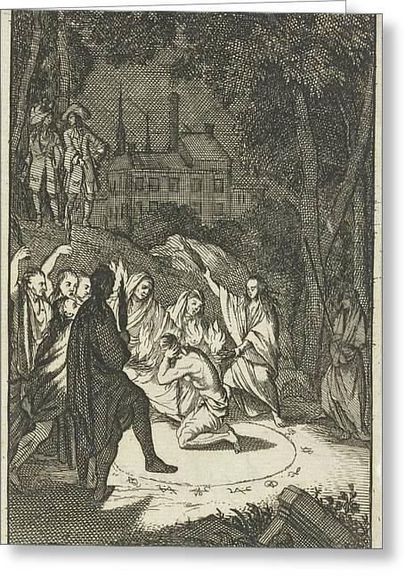 Simon, The Lovelorn Cook, The Fortune Teller Greeting Card by Caspar Luyken And Pieter Van Rijschooten