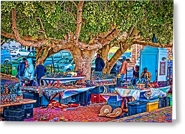 Simon's Town Market Greeting Card by Cliff C Morris Jr