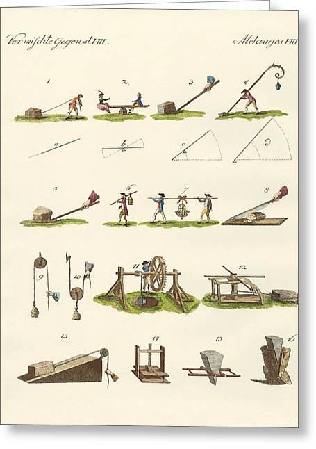 Simple Machines Greeting Card by Splendid Art Prints