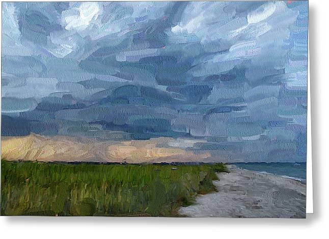 Simple Seaside Landscape Greeting Card by Yury Malkov