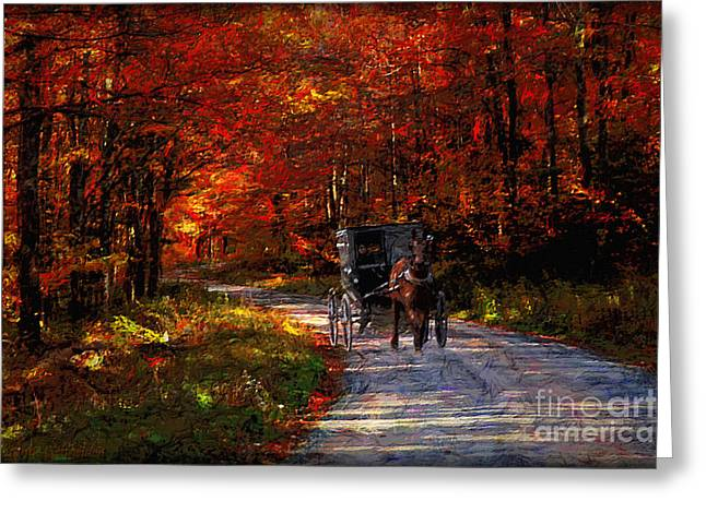 Simpler Times Greeting Card by Lianne Schneider