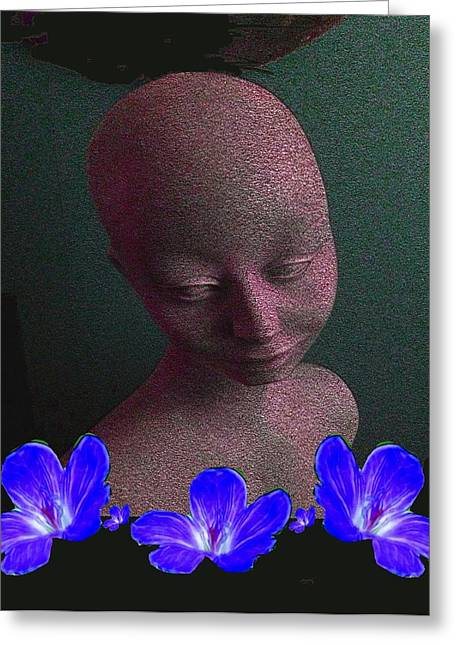Simplicity In Blue Greeting Card by Pepita Selles