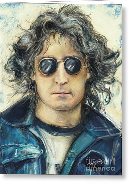 Simply John Lennon Greeting Card by Mark Tonelli
